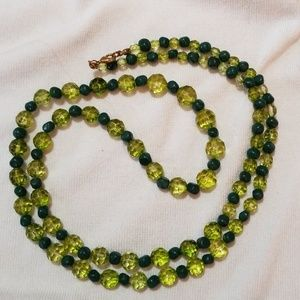 Long Vintage Asst Green Glass Bead Necklace